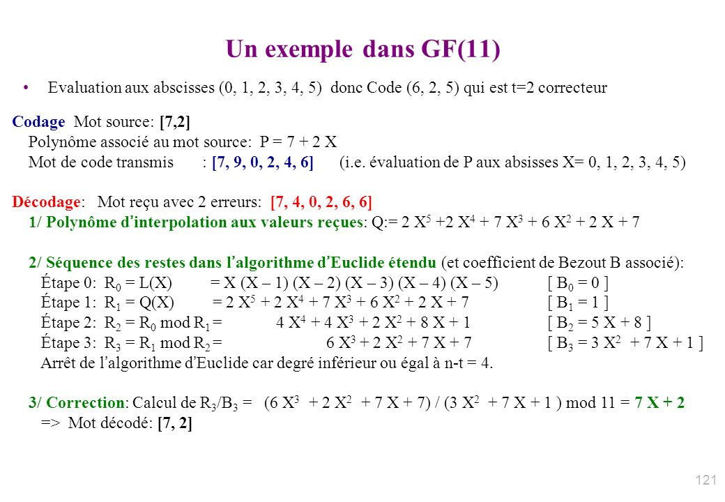 Un exemple dans GF(11) Evaluation aux abscisses (0, 1, 2, 3, 4, 5) donc Code (6, 2, 5) qui est t=2 correcteur.