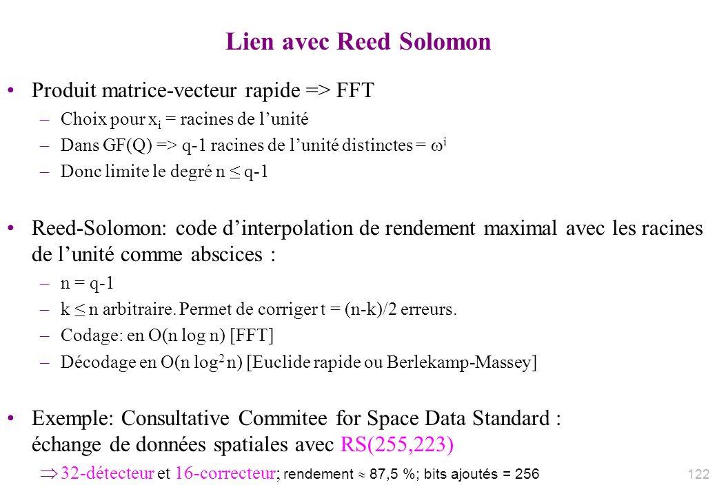 Lien avec Reed Solomon Produit matrice-vecteur rapide => FFT
