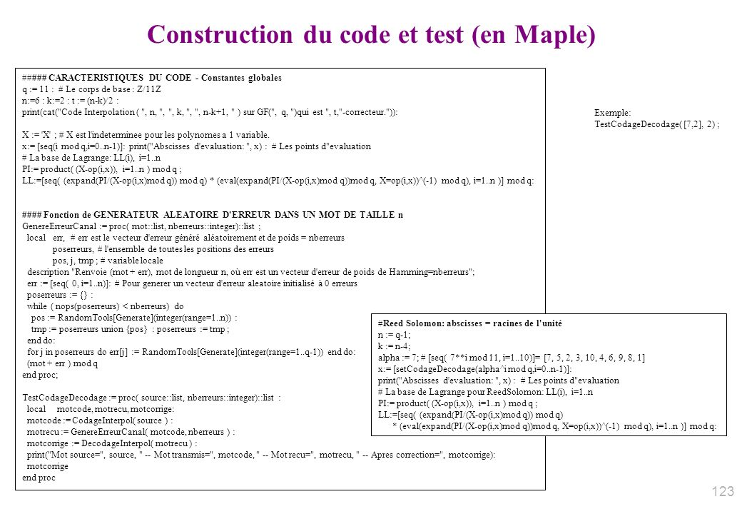 Construction du code et test (en Maple)