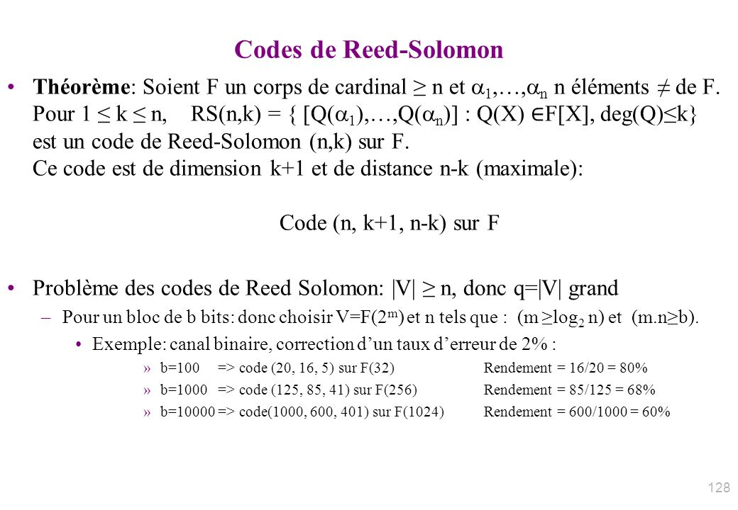 Codes de Reed-Solomon