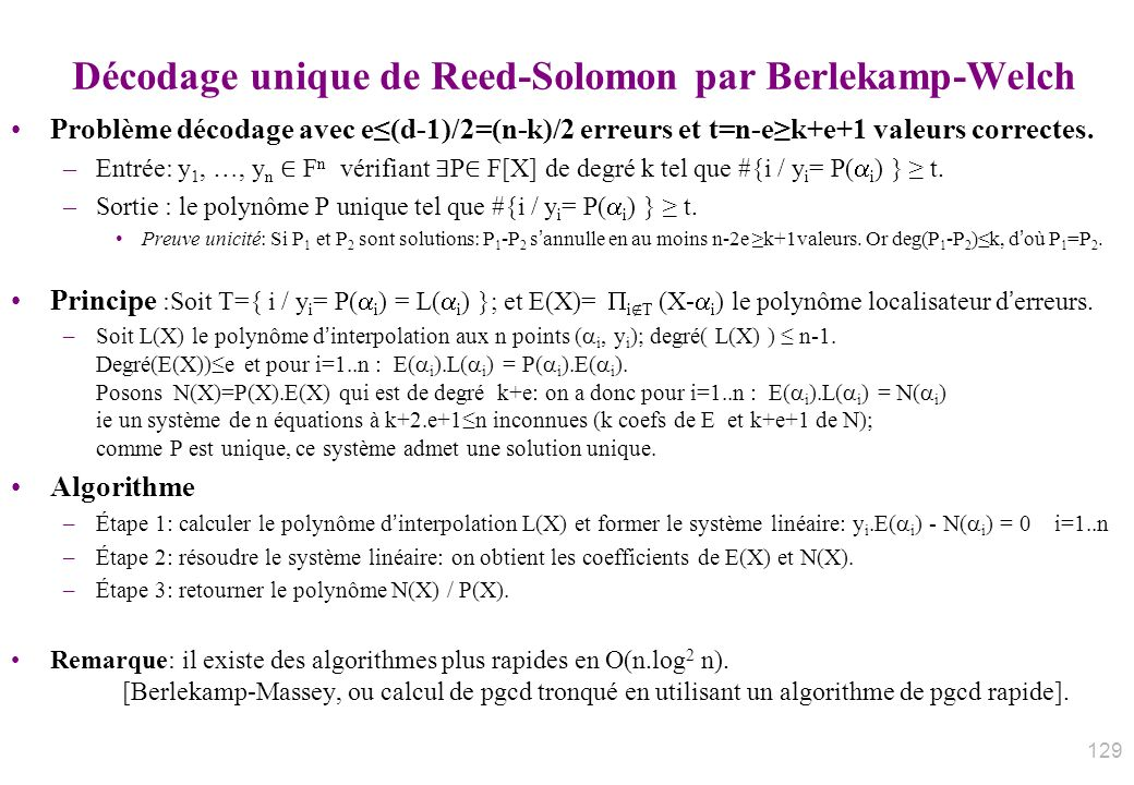 Décodage unique de Reed-Solomon par Berlekamp-Welch