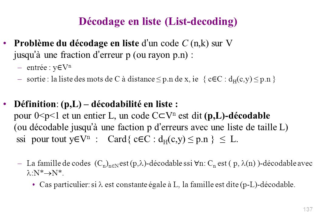 Décodage en liste (List-decoding)