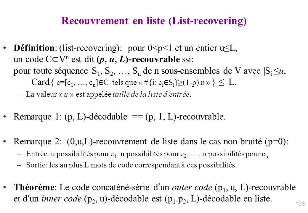Recouvrement en liste (List-recovering)