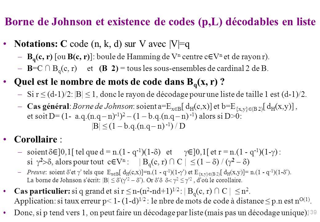 Borne de Johnson et existence de codes (p,L) décodables en liste