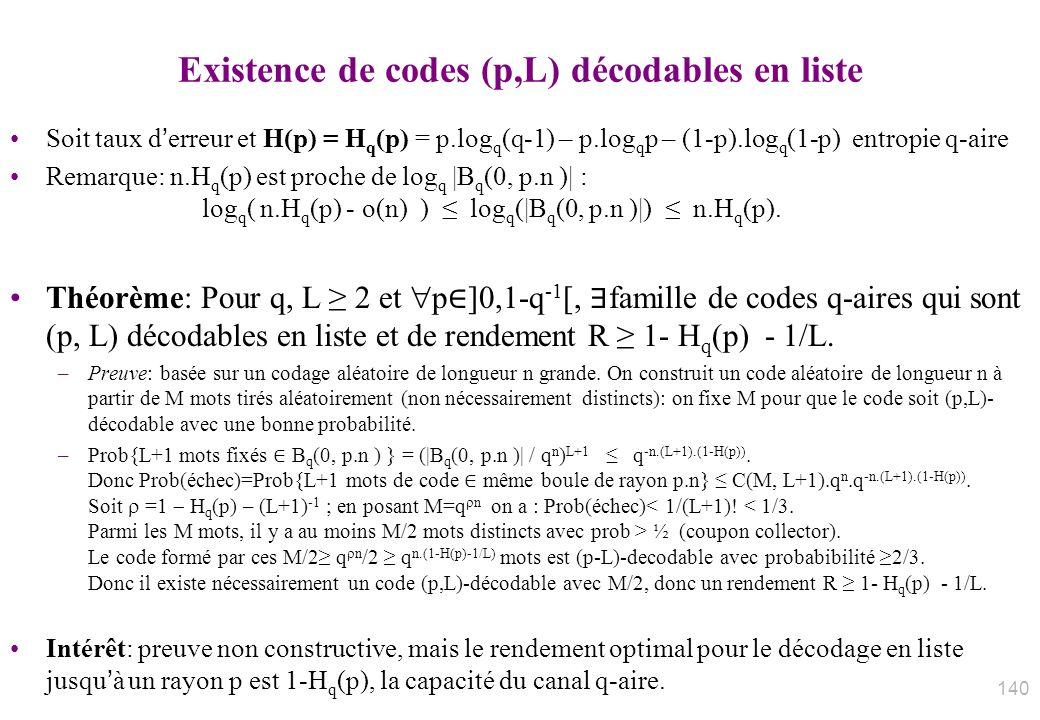 Existence de codes (p,L) décodables en liste