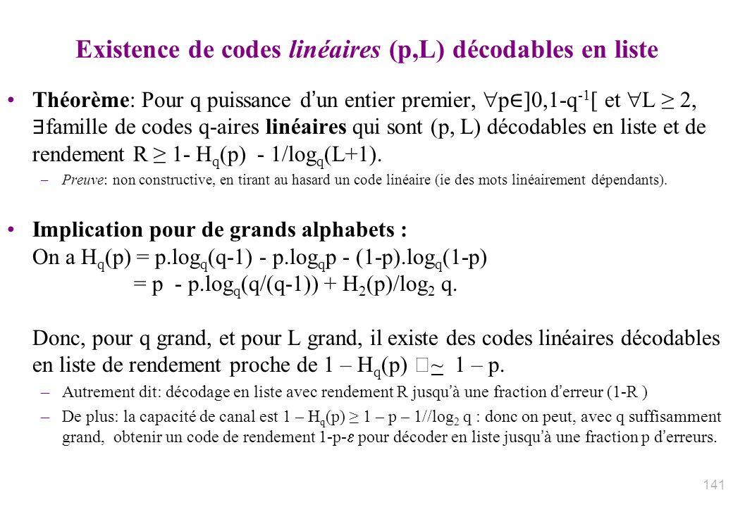 Existence de codes linéaires (p,L) décodables en liste