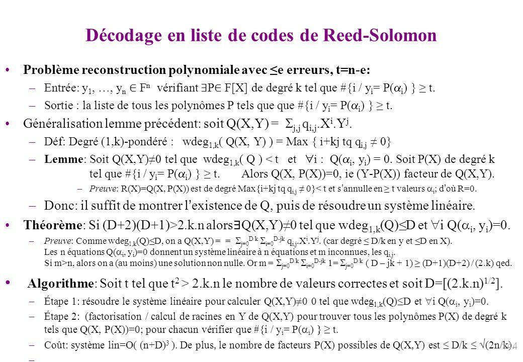 Décodage en liste de codes de Reed-Solomon