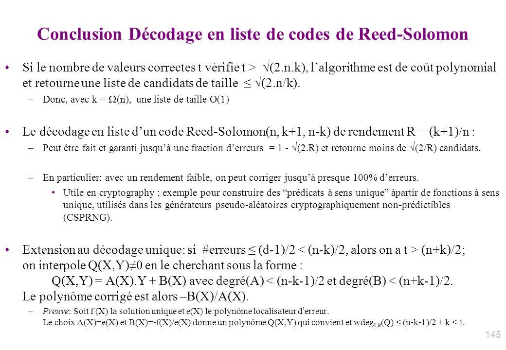 Conclusion Décodage en liste de codes de Reed-Solomon