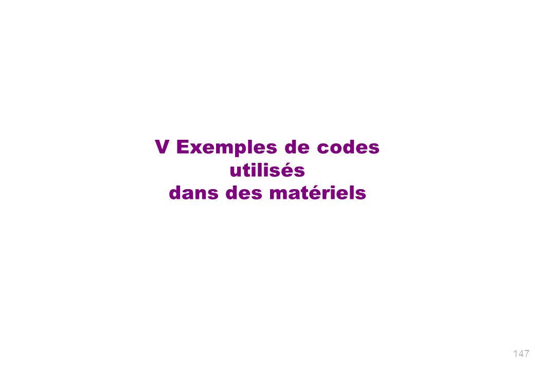 V Exemples de codes utilisés dans des matériels