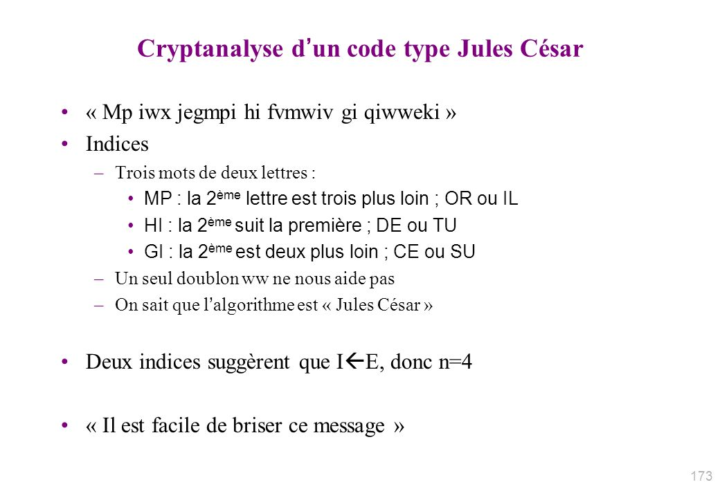 Cryptanalyse d'un code type Jules César