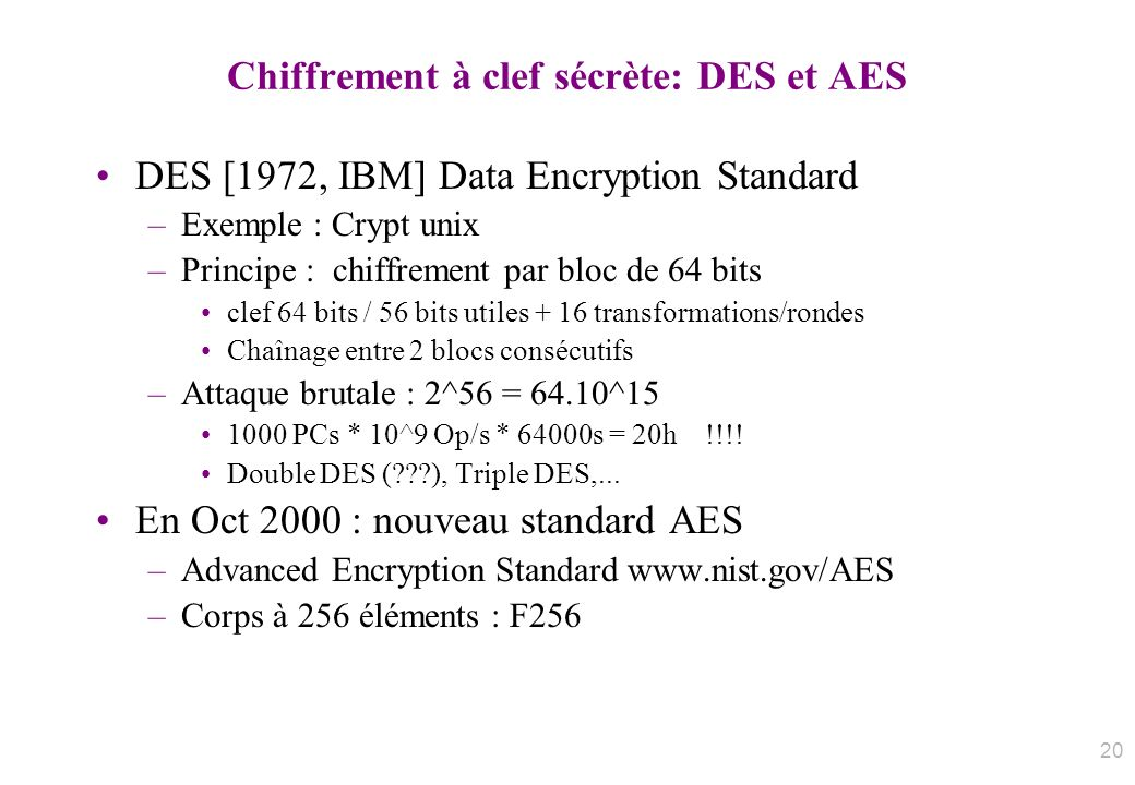 Chiffrement à clef sécrète: DES et AES