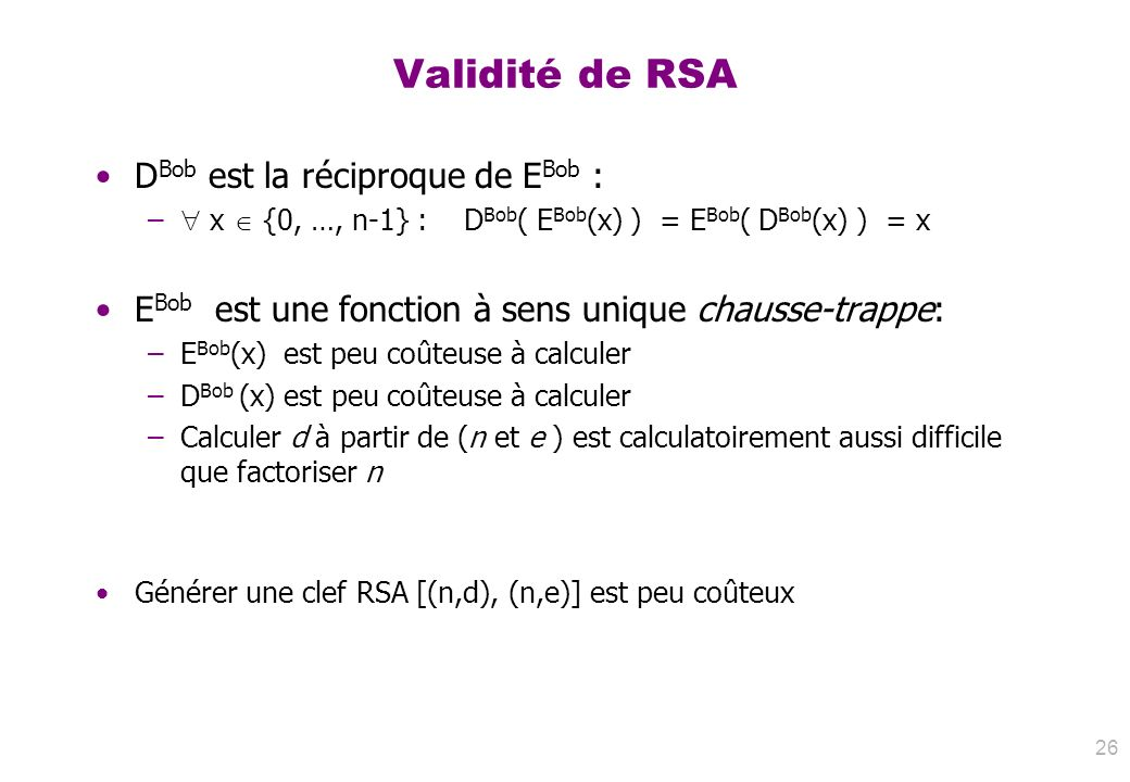 Validité de RSA DBob est la réciproque de EBob :