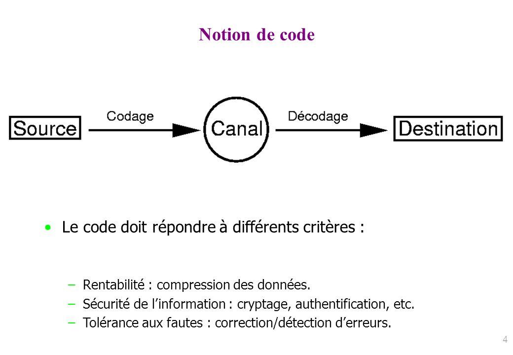 Notion de code Le code doit répondre à différents critères :