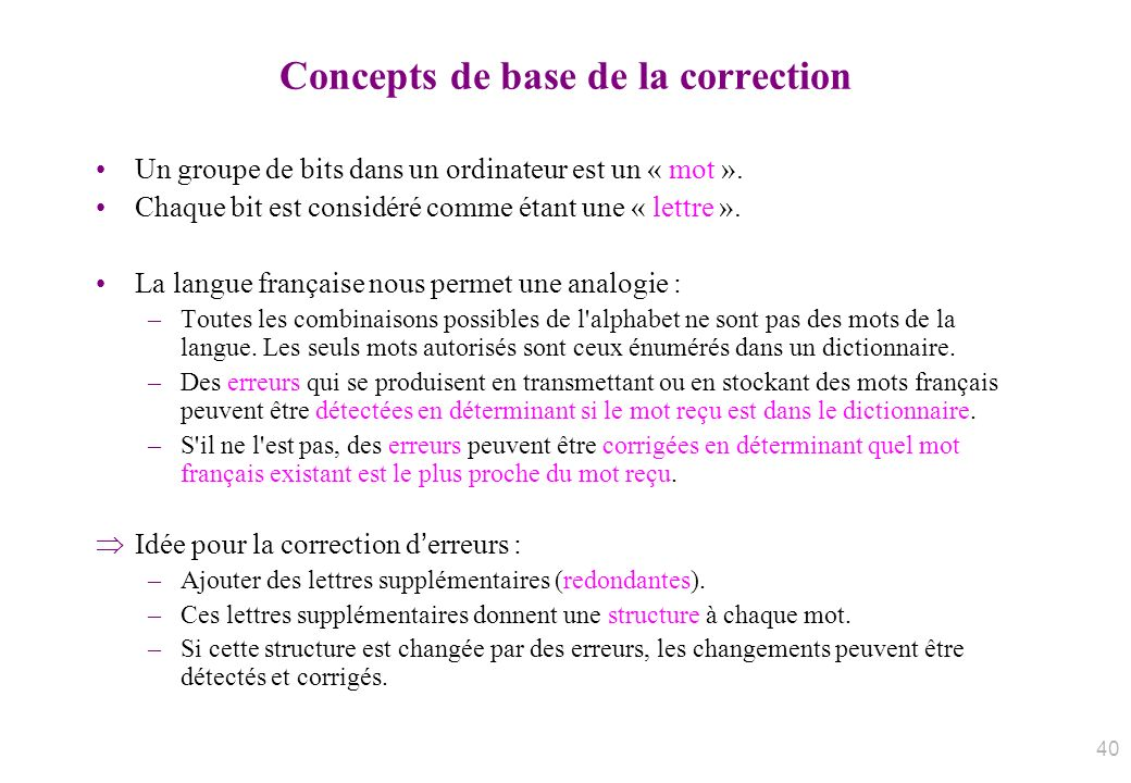 Concepts de base de la correction