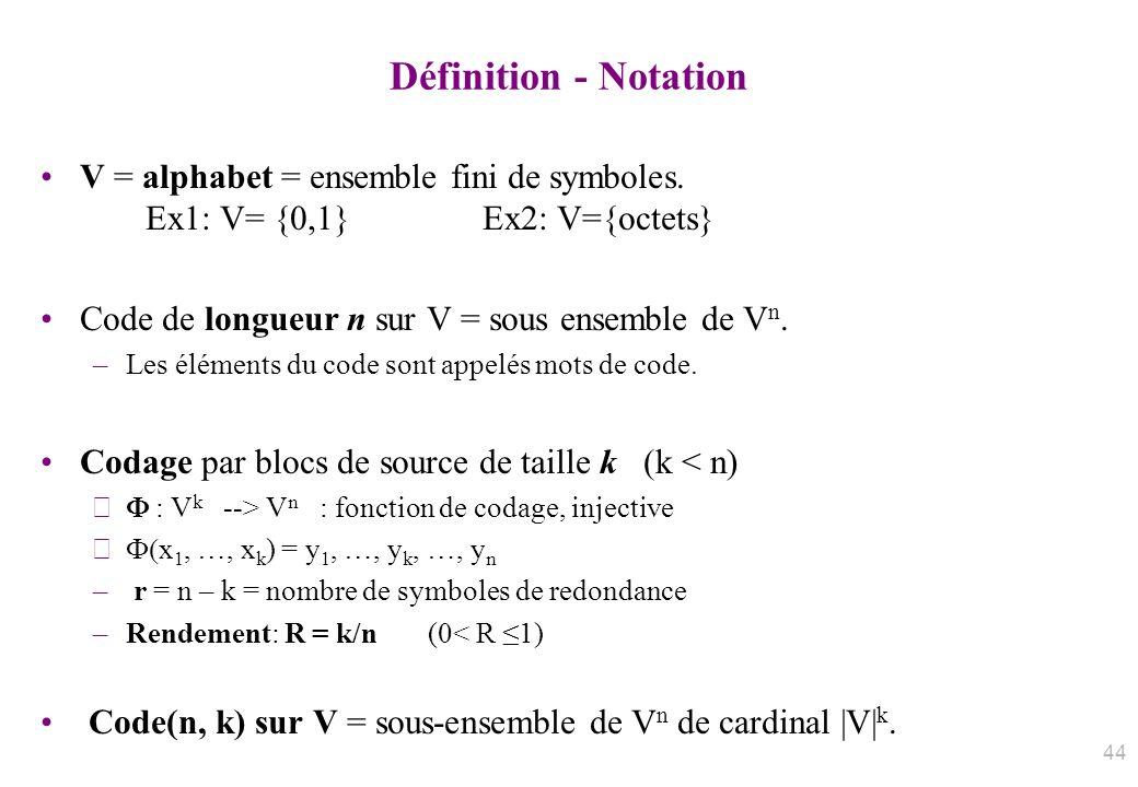 Définition - Notation V = alphabet = ensemble fini de symboles. Ex1: V= {0,1} Ex2: V={octets}