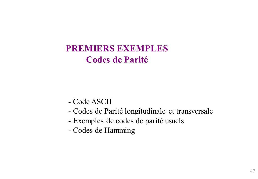 PREMIERS EXEMPLES Codes de Parité