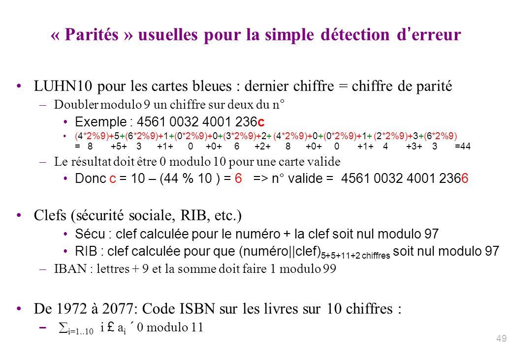 « Parités » usuelles pour la simple détection d'erreur
