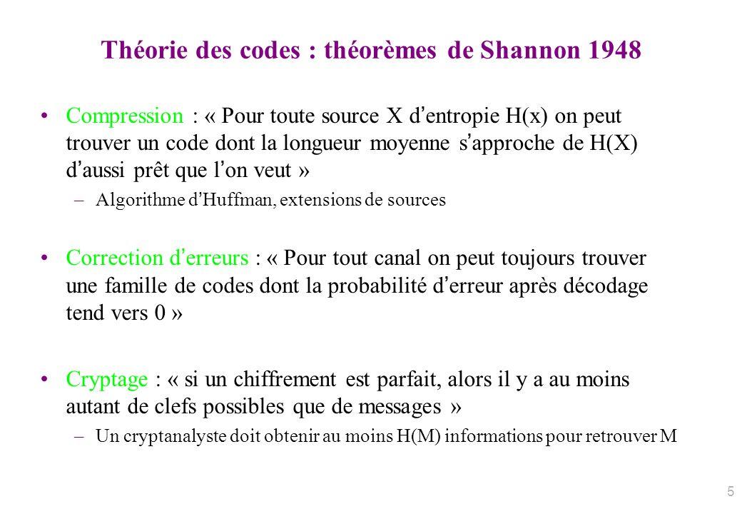 Théorie des codes : théorèmes de Shannon 1948