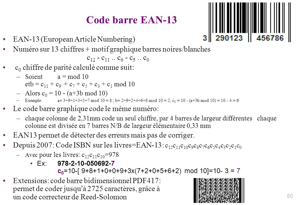 Code barre EAN-13 EAN-13 (European Article Numbering)