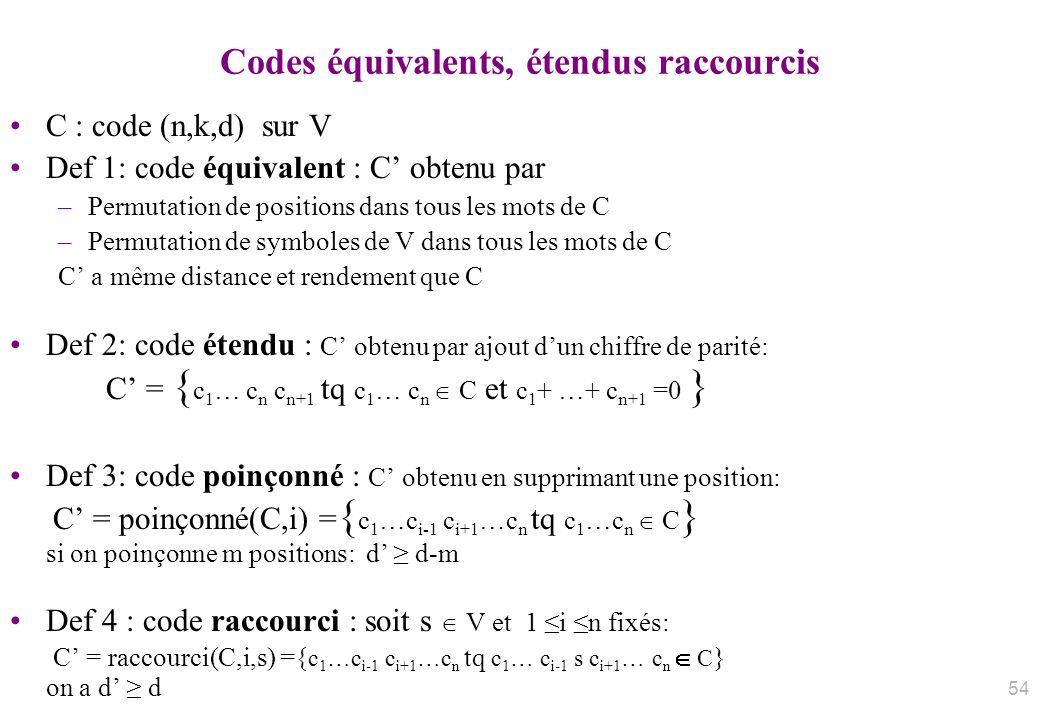 Codes équivalents, étendus raccourcis