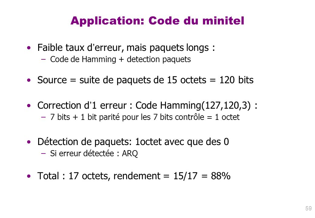Application: Code du minitel