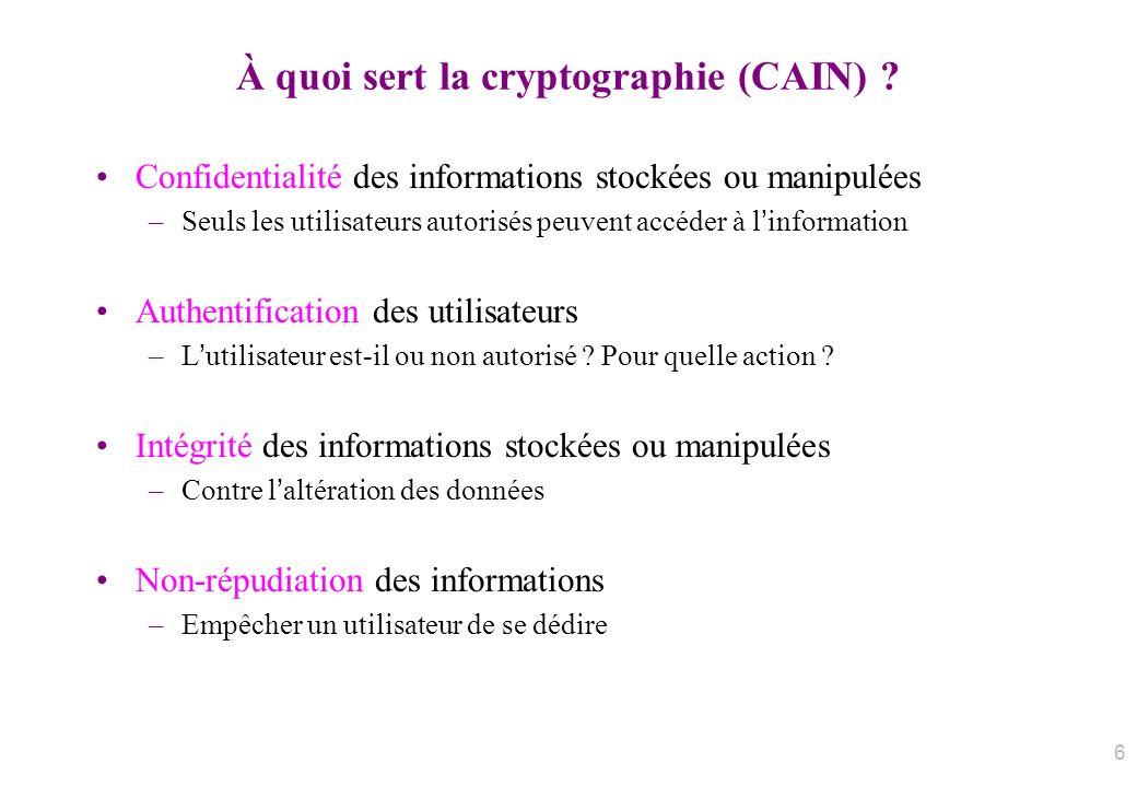 À quoi sert la cryptographie (CAIN)