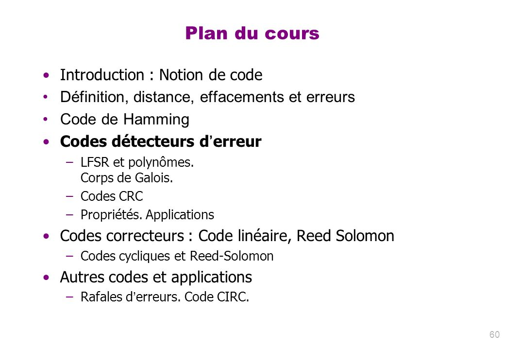 Plan du cours Introduction : Notion de code