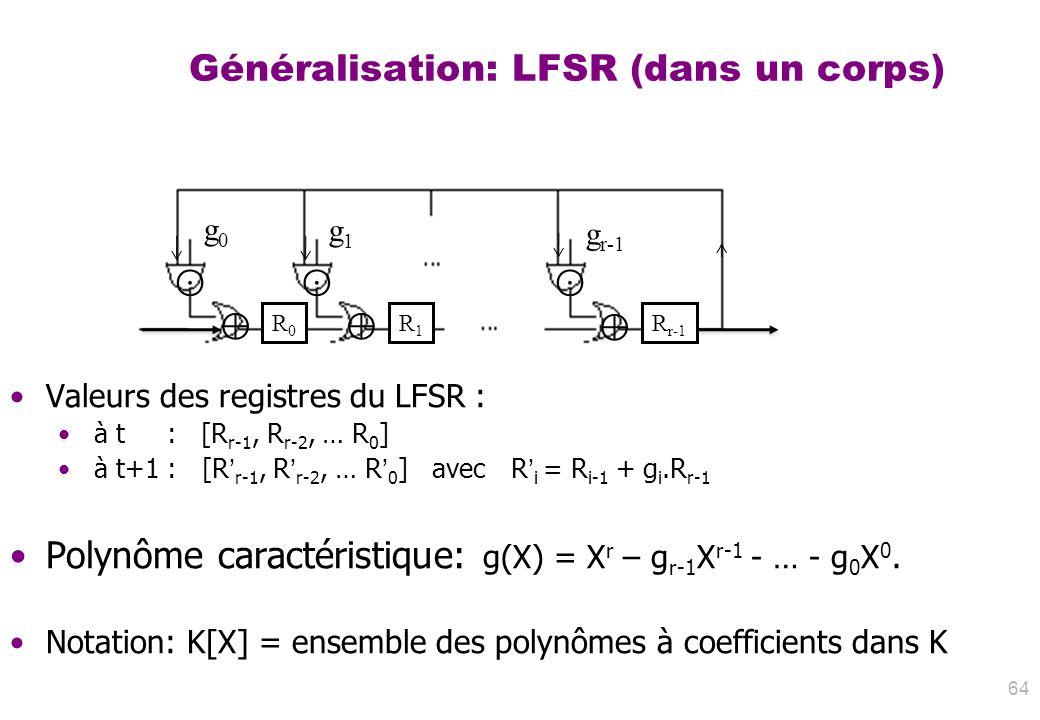 Généralisation: LFSR (dans un corps)