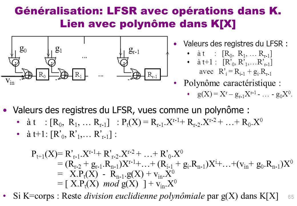 Généralisation: LFSR avec opérations dans K