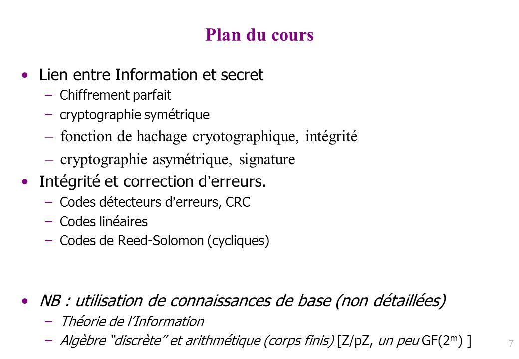 Plan du cours Lien entre Information et secret
