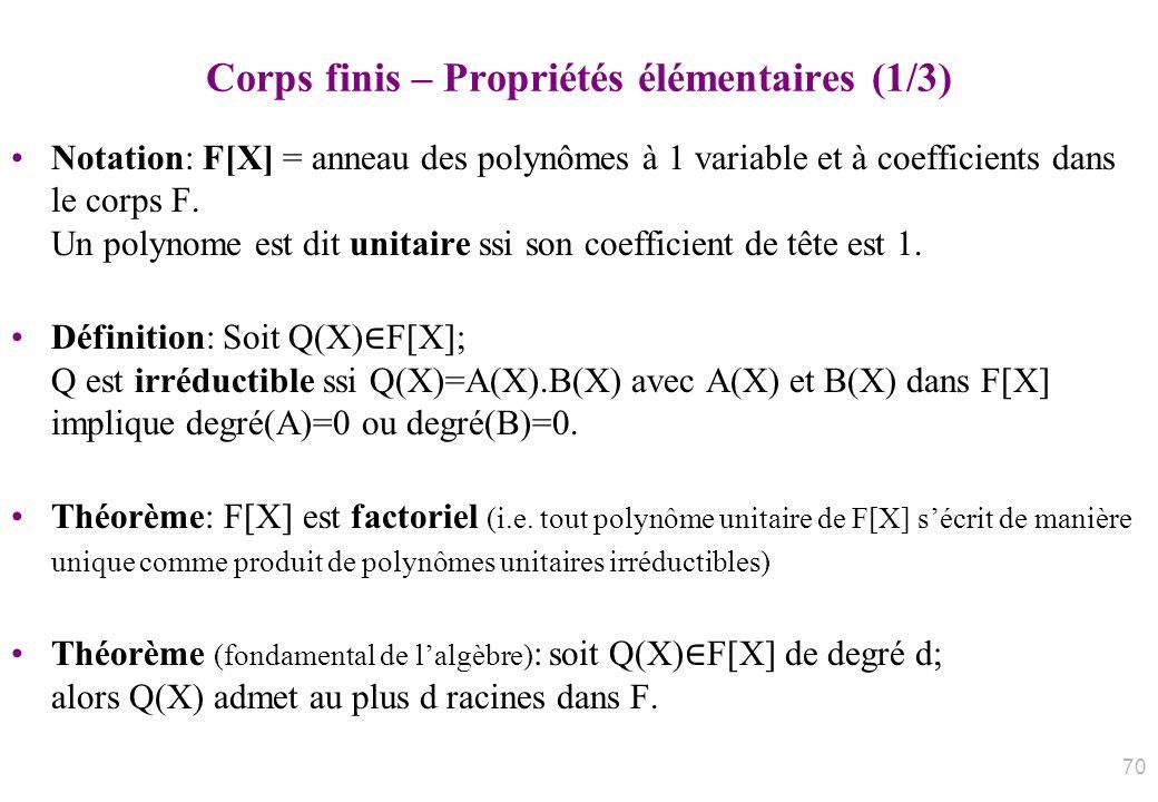 Corps finis – Propriétés élémentaires (1/3)