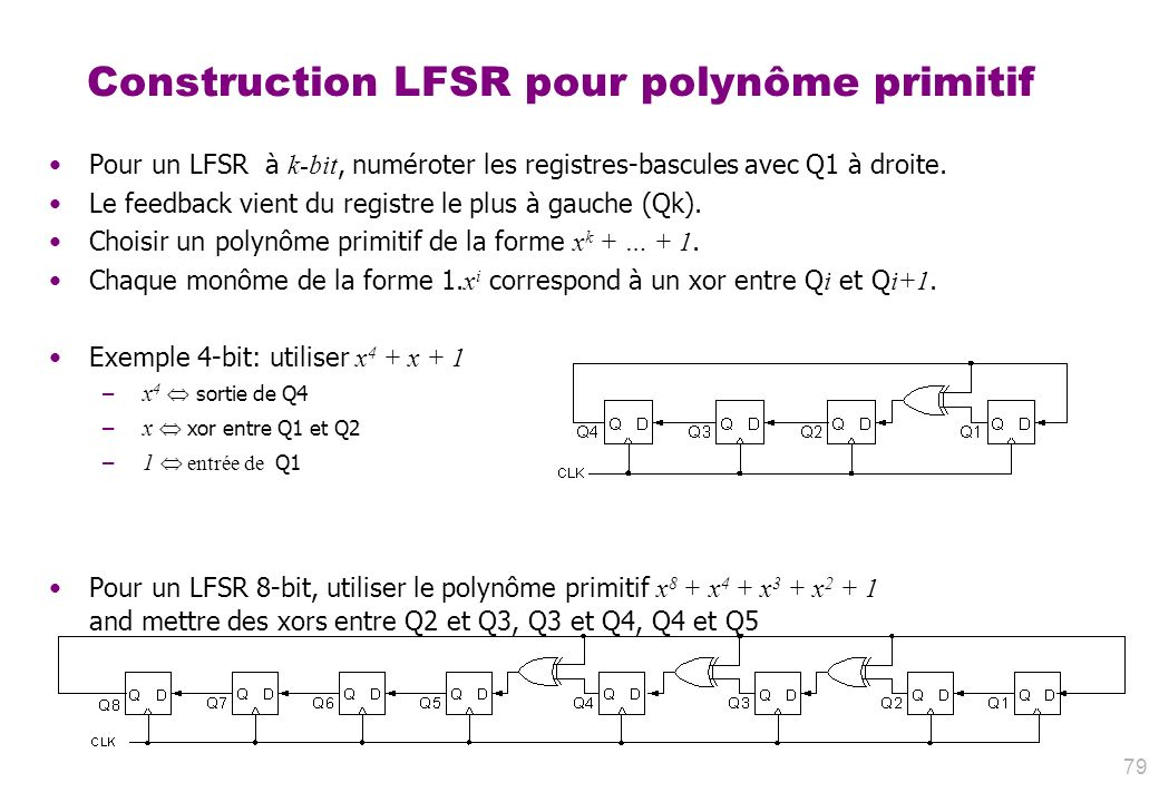 Construction LFSR pour polynôme primitif