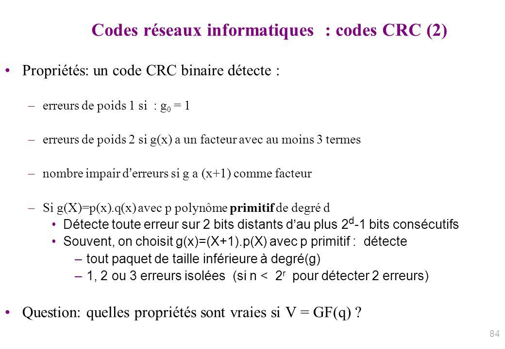 Codes réseaux informatiques : codes CRC (2)
