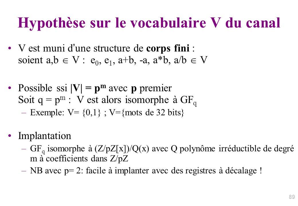 Hypothèse sur le vocabulaire V du canal
