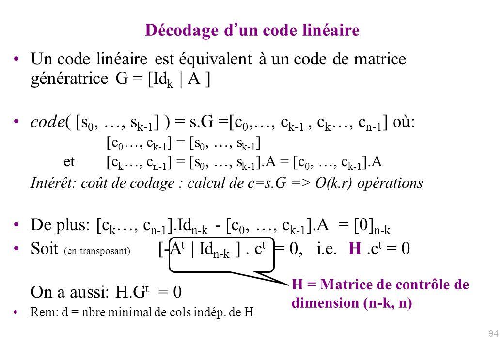 Décodage d'un code linéaire
