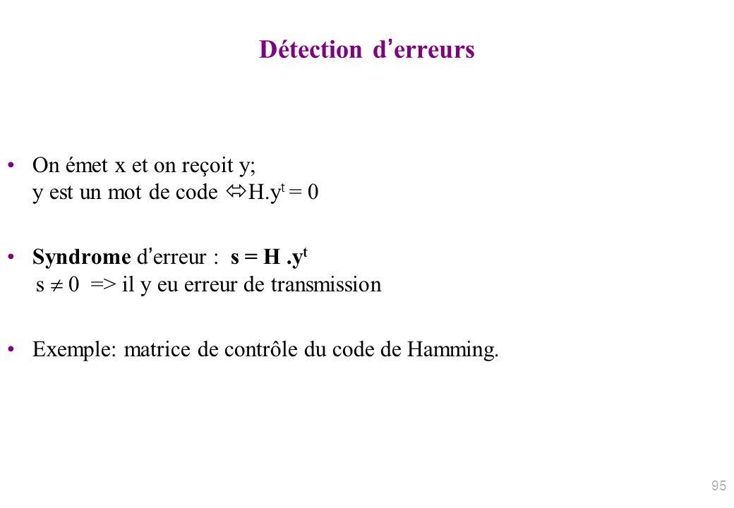 Détection d'erreurs On émet x et on reçoit y; y est un mot de code H.yt = 0.