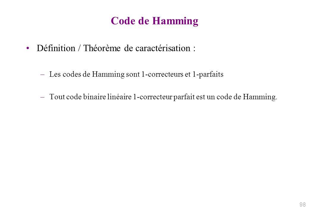 Code de Hamming Définition / Théorème de caractérisation :