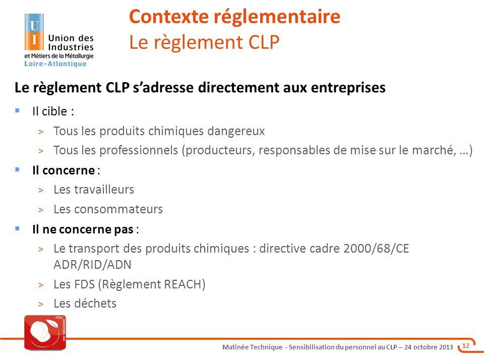 Contexte réglementaire Le règlement CLP