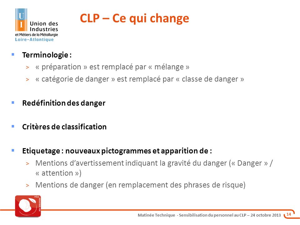 CLP – Ce qui change Terminologie :
