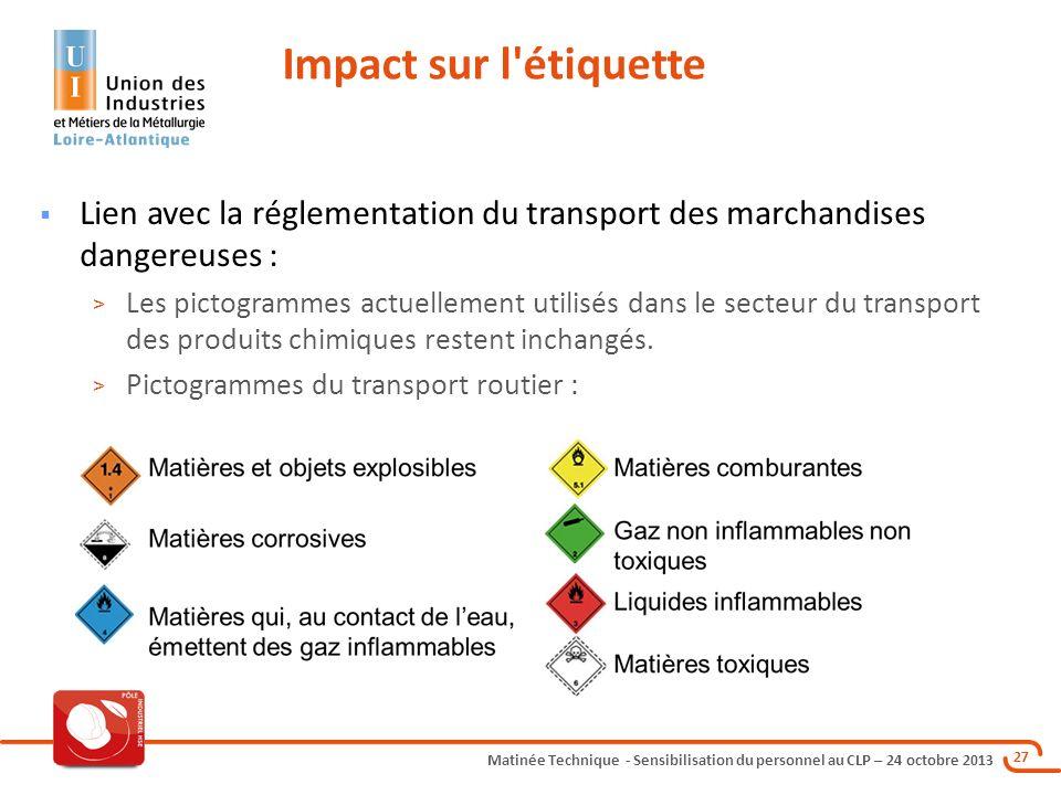 Impact sur l étiquette Lien avec la réglementation du transport des marchandises dangereuses :