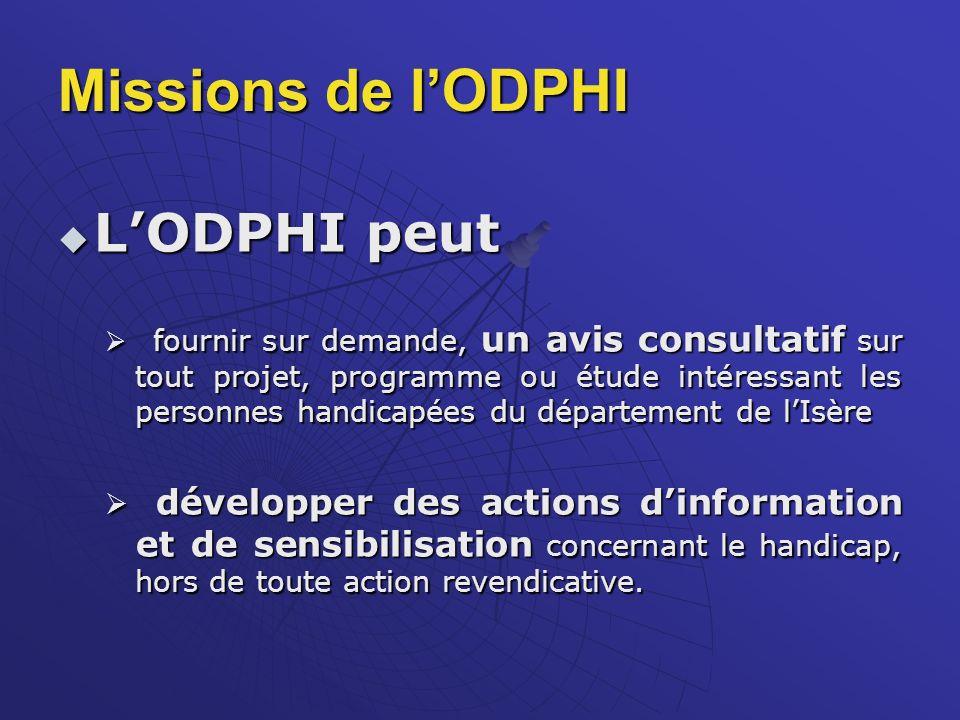 Missions de l'ODPHI L'ODPHI peut