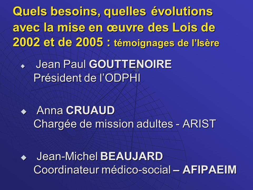 Quels besoins, quelles évolutions avec la mise en œuvre des Lois de 2002 et de 2005 : témoignages de l'Isère