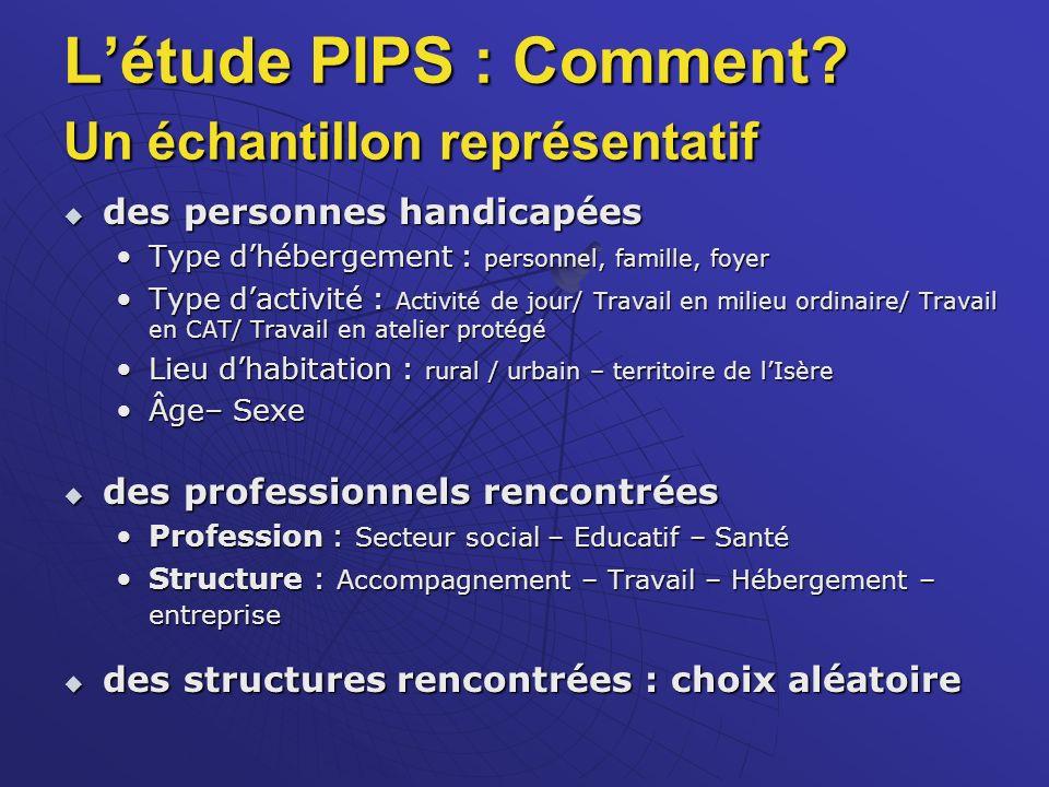 L'étude PIPS : Comment Un échantillon représentatif