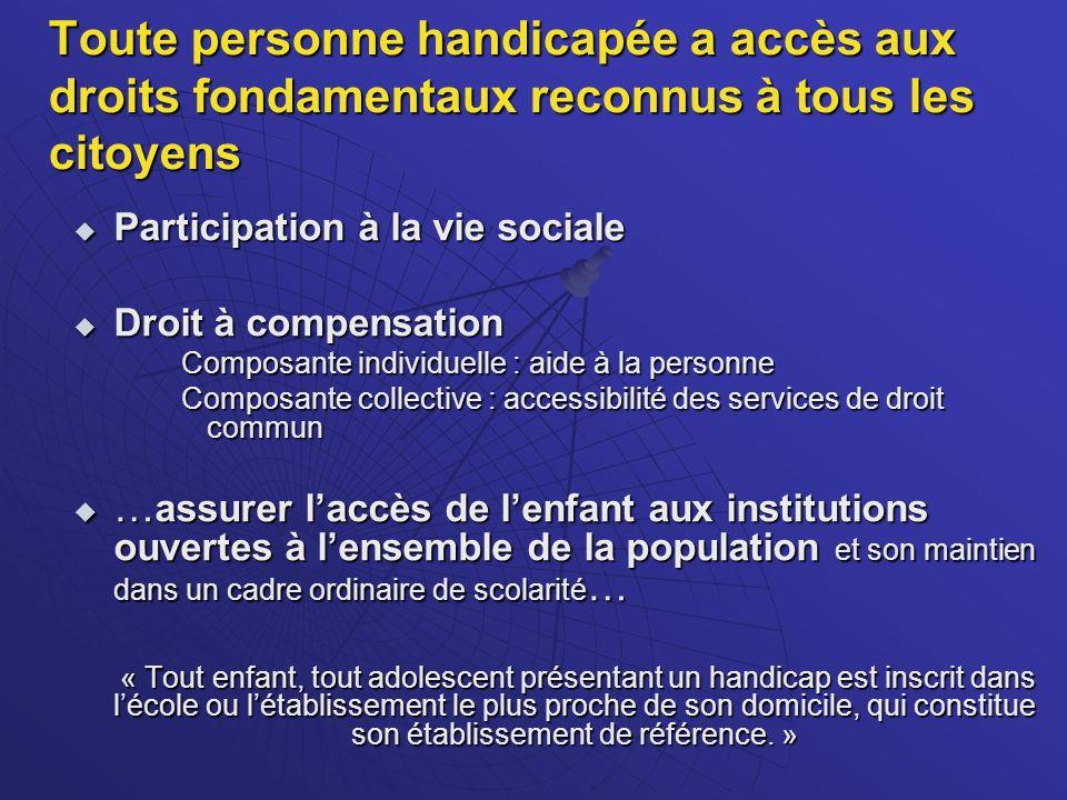 Toute personne handicapée a accès aux droits fondamentaux reconnus à tous les citoyens