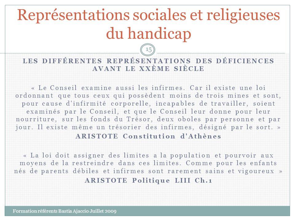 Représentations sociales et religieuses du handicap