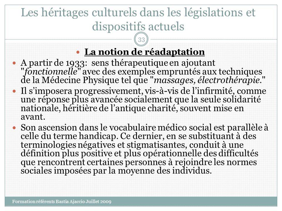 Les héritages culturels dans les législations et dispositifs actuels