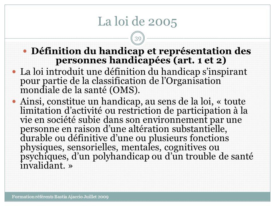 La loi de 2005 Définition du handicap et représentation des personnes handicapées (art. 1 et 2)