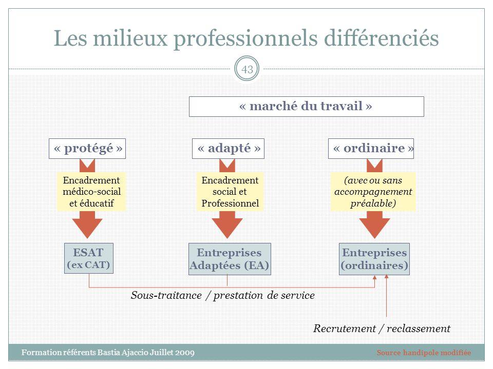 Les milieux professionnels différenciés