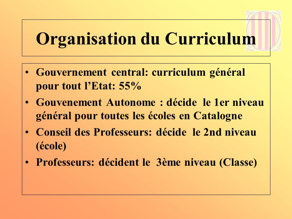 Organisation du Curriculum