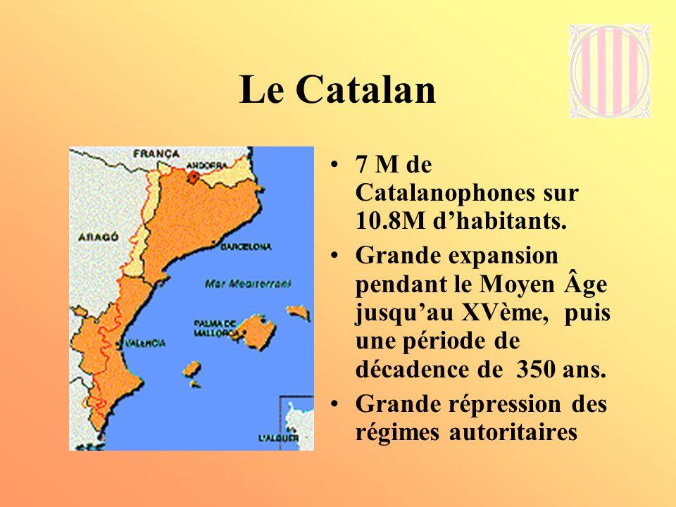 Le Catalan 7 M de Catalanophones sur 10.8M d'habitants.